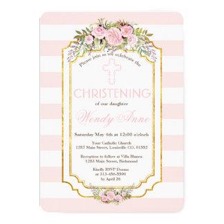 Carte Rougissent l'invitation floral de baptême d'or de