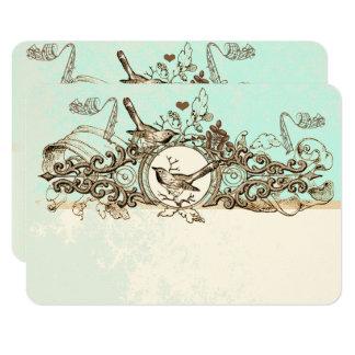 Carte Rouleau en bronze d'oiseaux vintages épousant RSVP