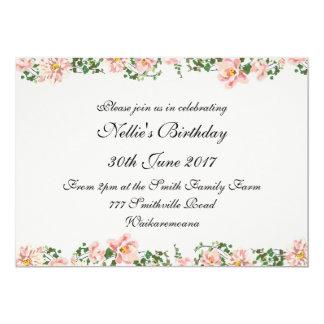 Carte Rouleau floral et rose-clair élégants