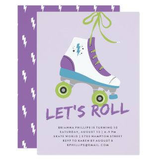 Carte Roulons l'invitation d'anniversaire - violette