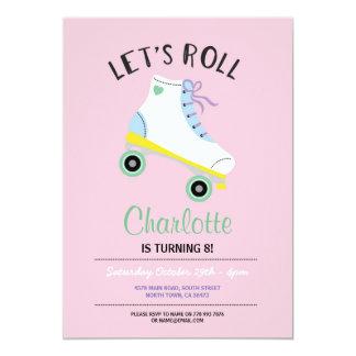 Carte Roulons l'invitation rose de partie de filles de