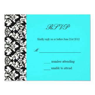 Carte RSVP de réponse de mariage damassé de Carton D'invitation 10,79 Cm X 13,97 Cm