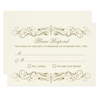 Carte RSVP l'épousant vintage carde le Flourish élégant