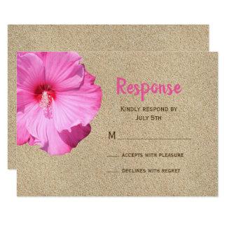 Carte RSVP tropical (sable et rose de plage)