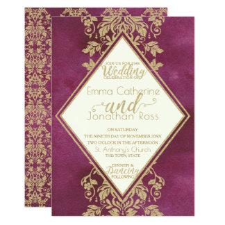 Carte Rubis et or mariage damassé