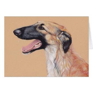 Carte russe d'art de chien de chien-loup de barzoï
