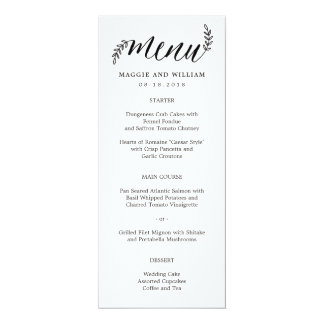 Carte rustique de menu de branches