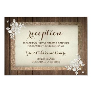 Carte rustique de réception en bois, de toile de carton d'invitation 8,89 cm x 12,70 cm