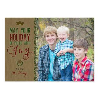 Carte rustique de vacances en bois carton d'invitation  12,7 cm x 17,78 cm