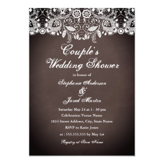 Carte rustique de wedding shower de couples de