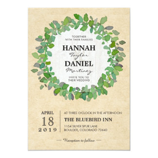 Carte rustique d'invitation de guirlande carton d'invitation  12,7 cm x 17,78 cm