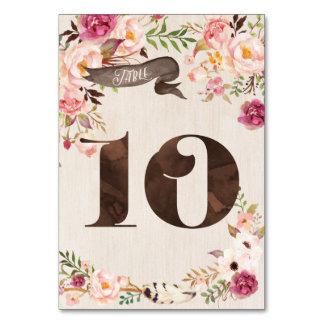 Carte rustique florale 10 de nombre de Tableau de