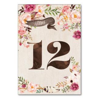 Carte rustique florale 12 de nombre de Tableau de
