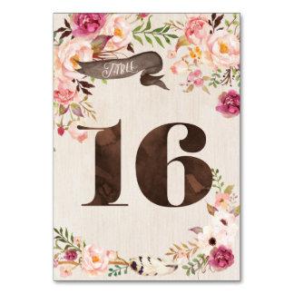 Carte rustique florale 16 de nombre de Tableau de