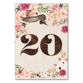 Carte rustique florale 20 de nombre de Tableau de