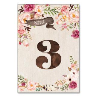 Carte rustique florale 3 de nombre de Tableau de
