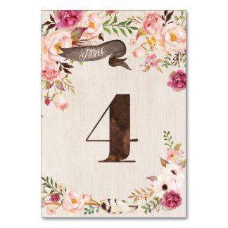 Carte rustique florale 4 de nombre de Tableau de