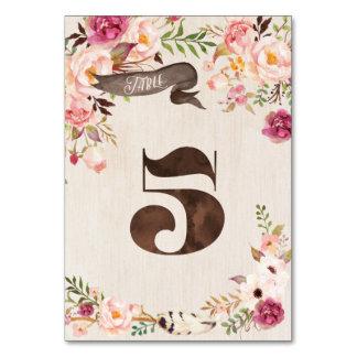Carte rustique florale 5 de nombre de Tableau de