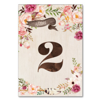 Carte rustique florale de nombre de Tableau de