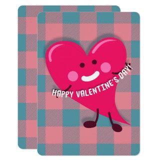 Carte Saint-Valentin rose mignonne de caractère de coeur