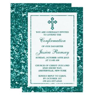 Carte Sainte communion turquoise ou confirmation de