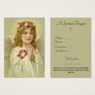 Carte sainte de prière de bouquet spirituel d'ange