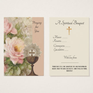 Carte sainte de prière de bouquet spirituel de