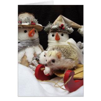 Carte saisonnière de hérisson de Noël