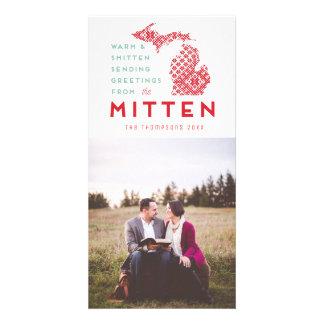 Carte Salutation moderne de photo de mitaine du Michigan