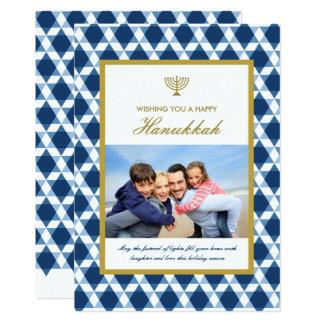 Carte Salutations de photo de Menorah Hanoukka d'étoile