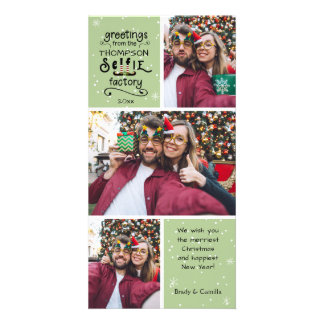 Carte salutations de sELFie, neige sur le vert, 3 photos