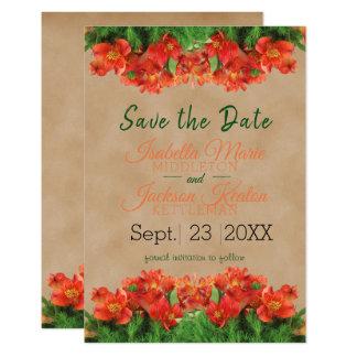 Carte Sauvez le beau floral orange de date