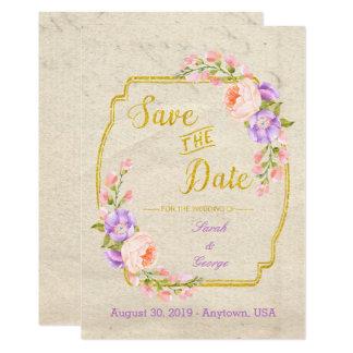 Carte Sauvez le floral et l'or simples de date