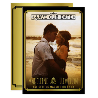 Carte Sauvez le rétro or noir Deco de date épousant la
