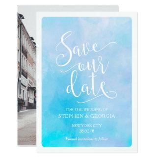 Carte Sauvez notre aquarelle de bleu d'invitations de