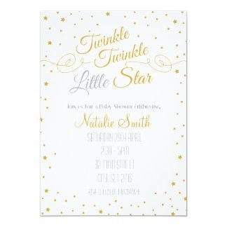 Carte Scintillement peu d'or de baby shower d'invitation