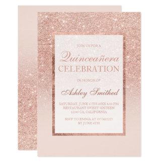 Carte Scintillement rose Quinceañera chic élégant d'or