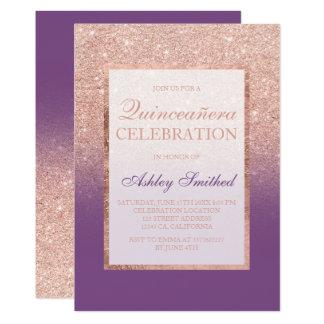 Carte Scintillement rose Quinceañera chic pourpre d'or