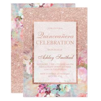 Carte Scintillement rose Quinceañera floral élégant d'or