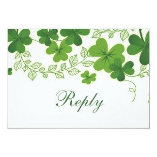 Carte Shamrock irlandais (trèfle) épousant RSVP