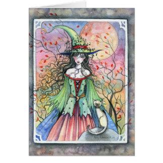 Carte siamoise de sorcière de Wiccan Halloween