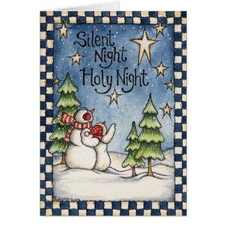 Carte silencieuse de vacances de Noël de bonhommes