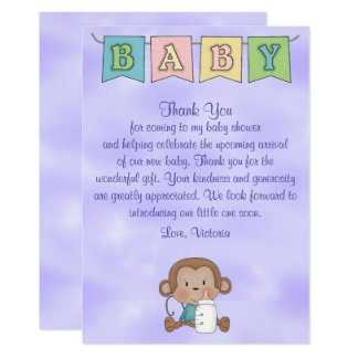 Carte Singe de neutre de genre de baby shower