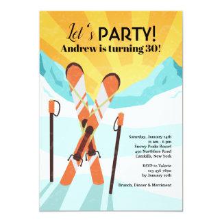 Carte Skis croisant l'invitation
