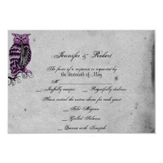 Carte snob de réponse de mariage de hibou gothique carton d'invitation 8,89 cm x 12,70 cm