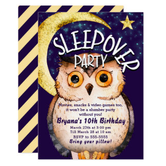 Carte Soirée pyjamas pourpre mignonne de Sleepover de