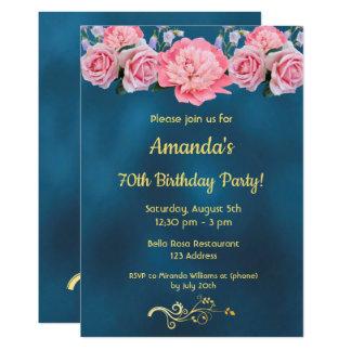 Carte soixante-dixième bleu de fête d'anniversaire avec
