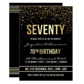 Carte soixante-dixième Confettis miroitants d'or de la