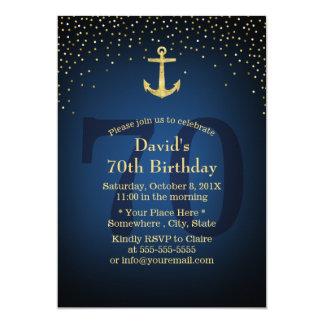 Carte Soixante-dixième fête d'anniversaire de bleu
