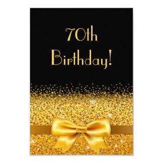 Carte soixante-dixième fête d'anniversaire sur le noir